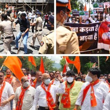 BJP नेता नारायण राणे के खिलाफ शिवसेना का बवाल, प्रर्दशन, पथराव और लाठीचार्ज